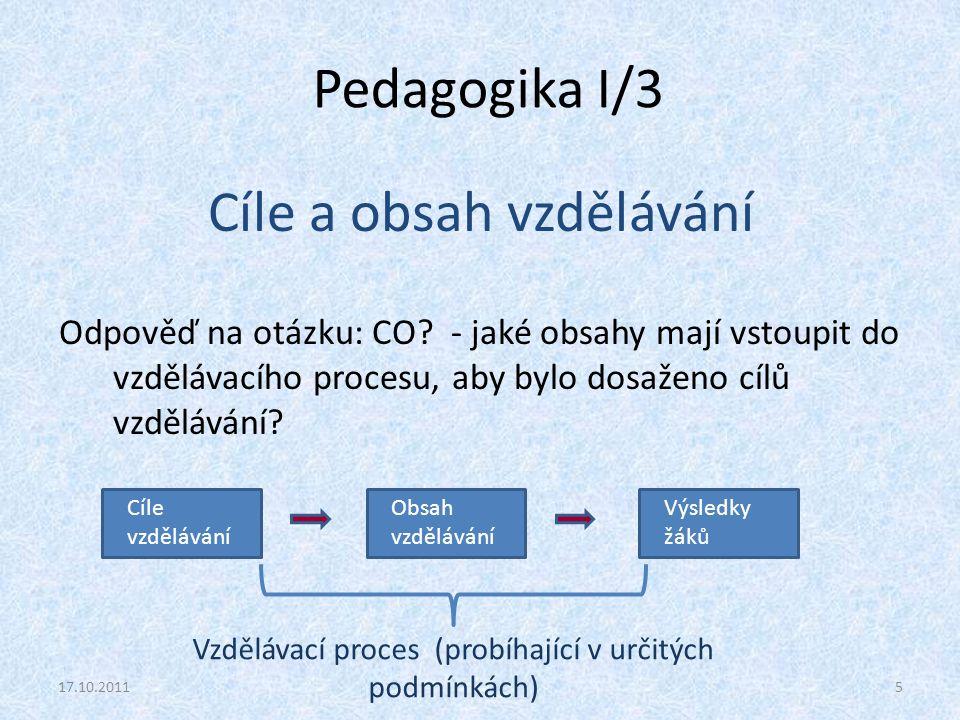 Pedagogika I/3 Cíle a obsah vzdělávání Odpověď na otázku: CO? - jaké obsahy mají vstoupit do vzdělávacího procesu, aby bylo dosaženo cílů vzdělávání?