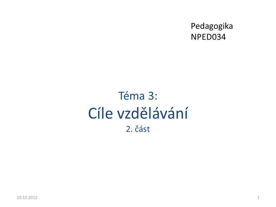 Téma 3: Cíle vzdělávání 2. část 10.10.20121 Pedagogika NPED034