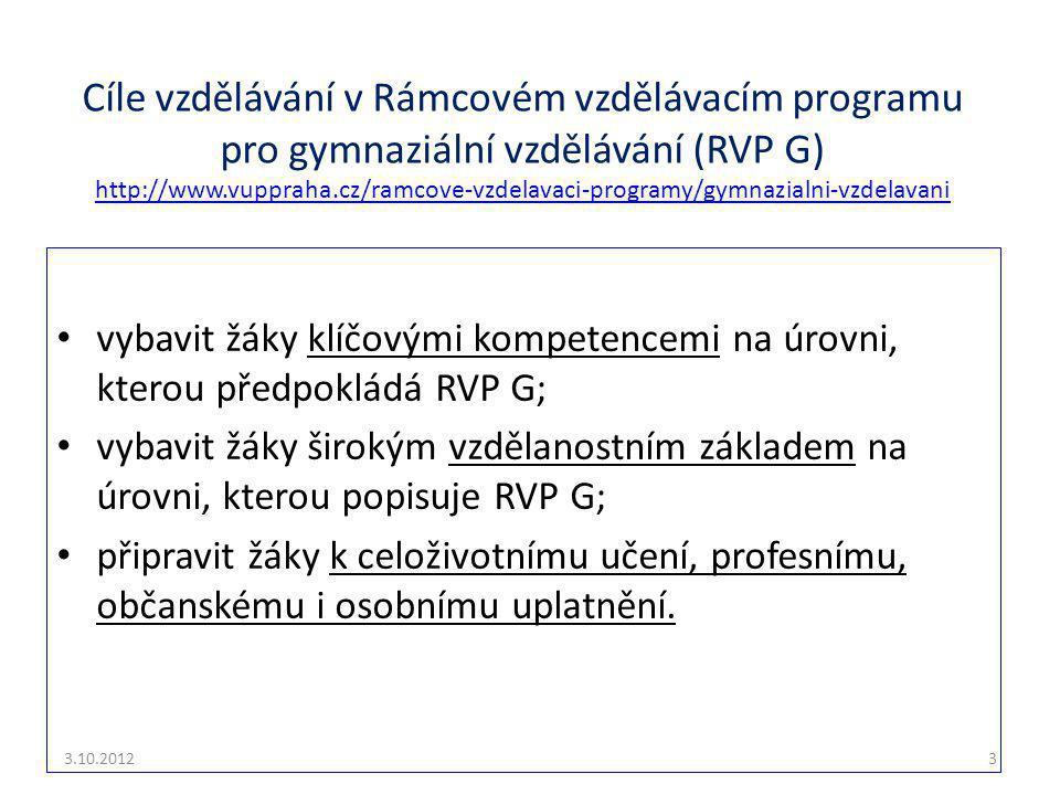 Cíle vzdělávání v Rámcovém vzdělávacím programu pro gymnaziální vzdělávání (RVP G) http://www.vuppraha.cz/ramcove-vzdelavaci-programy/gymnazialni-vzdelavani http://www.vuppraha.cz/ramcove-vzdelavaci-programy/gymnazialni-vzdelavani vybavit žáky klíčovými kompetencemi na úrovni, kterou předpokládá RVP G; vybavit žáky širokým vzdělanostním základem na úrovni, kterou popisuje RVP G; připravit žáky k celoživotnímu učení, profesnímu, občanskému i osobnímu uplatnění.