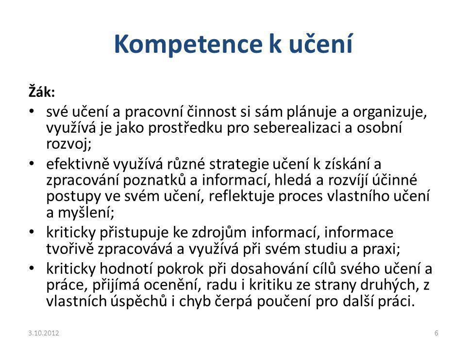 Kompetence versus předmětově specifické znalosti a dovednosti ??.