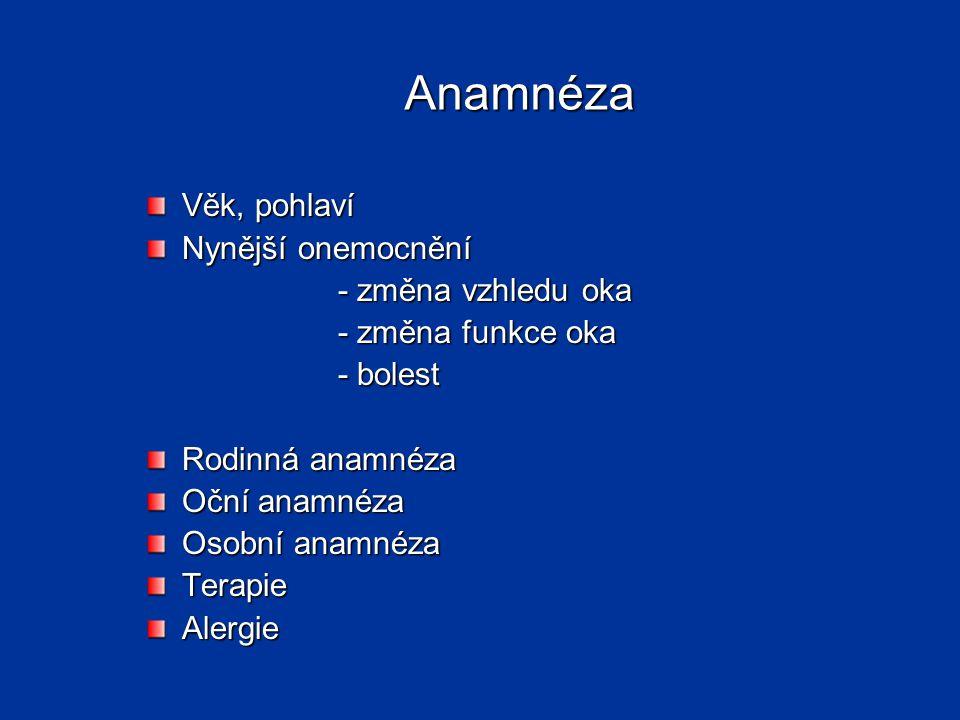 Anamnéza Věk, pohlaví Nynější onemocnění - změna vzhledu oka - změna funkce oka - bolest Rodinná anamnéza Oční anamnéza Osobní anamnéza TerapieAlergie