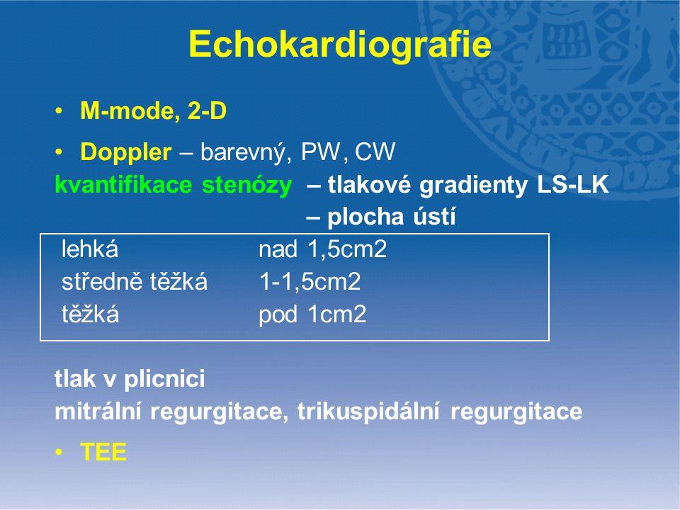 Echokardiografie M-mode, 2-D Doppler – barevný, PW, CW kvantifikace stenózy – tlakové gradienty LS-LK – plocha ústí lehká nad 1,5cm2 středně těžká 1-1