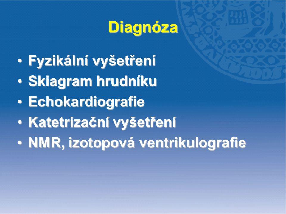 Diagnóza Fyzikální vyšetřeníFyzikální vyšetření Skiagram hrudníkuSkiagram hrudníku EchokardiografieEchokardiografie Katetrizační vyšetřeníKatetrizační