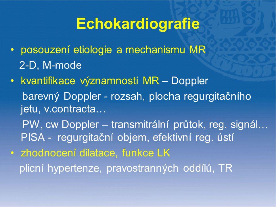 Echokardiografie posouzení etiologie a mechanismu MR 2-D, M-mode kvantifikace významnosti MR – Doppler barevný Doppler - rozsah, plocha regurgitačního