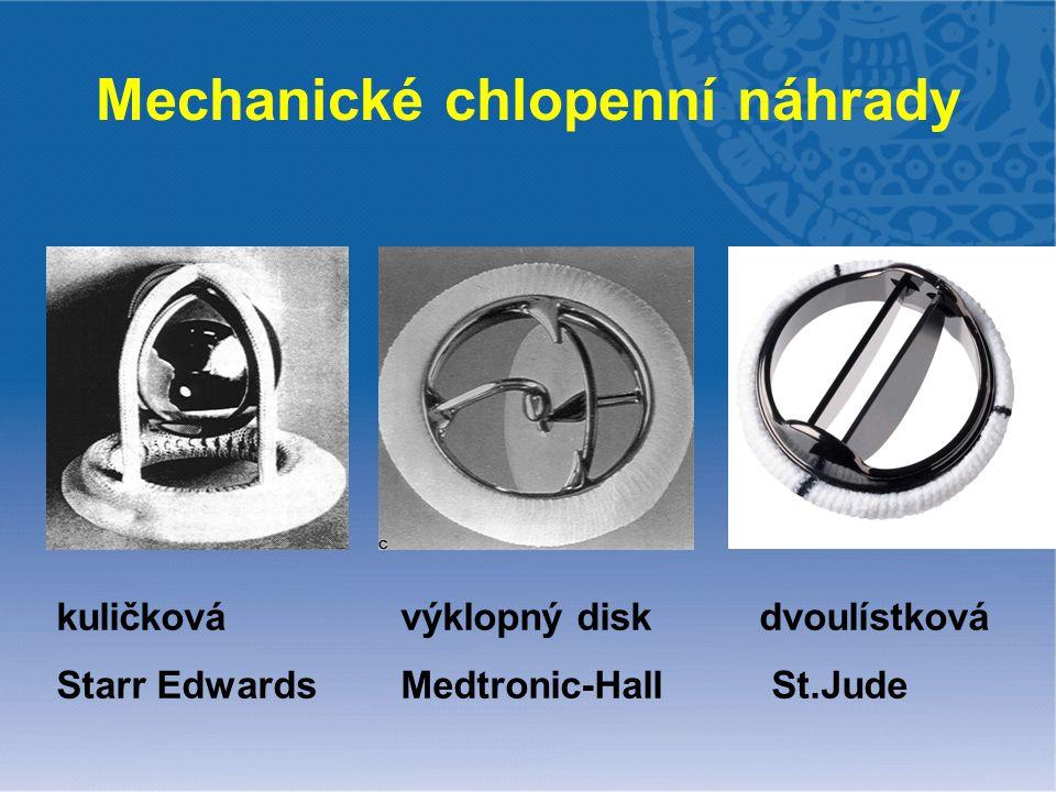Mechanické chlopenní náhrady kuličková výklopný disk dvoulístková Starr Edwards Medtronic-Hall St.Jude