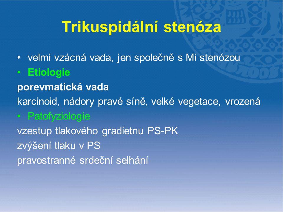 Trikuspidální stenóza velmi vzácná vada, jen společně s Mi stenózou Etiologie porevmatická vada karcinoid, nádory pravé síně, velké vegetace, vrozená
