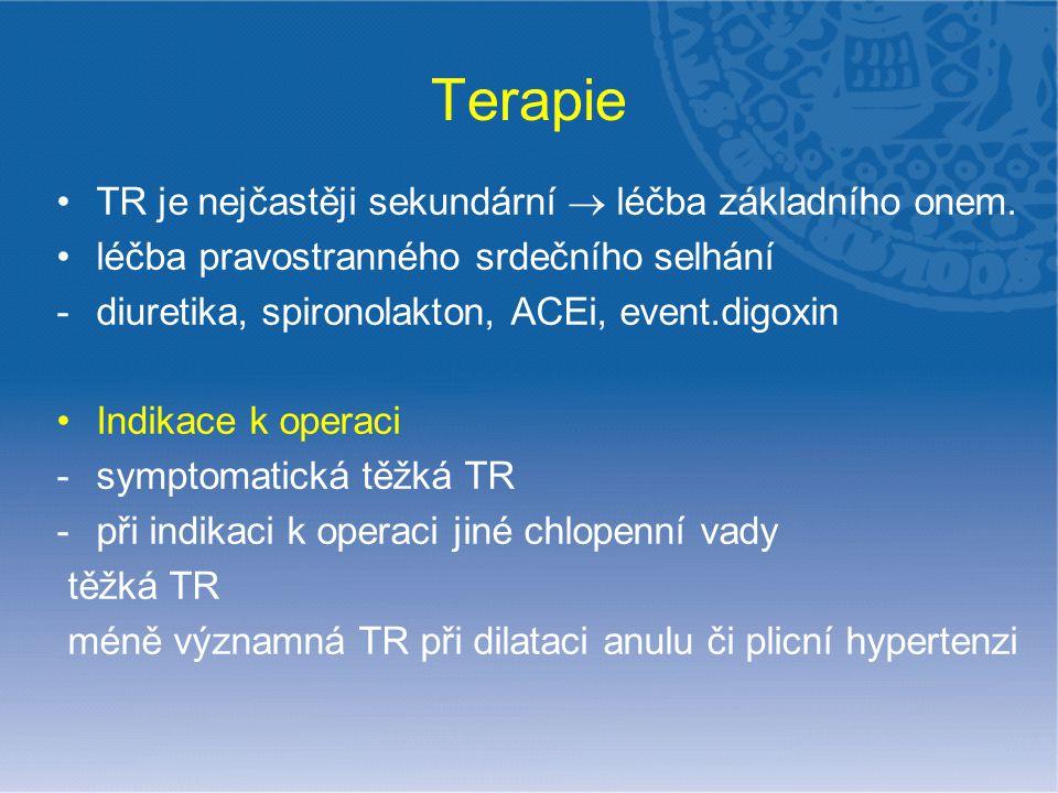 Terapie TR je nejčastěji sekundární  léčba základního onem. léčba pravostranného srdečního selhání -diuretika, spironolakton, ACEi, event.digoxin Ind