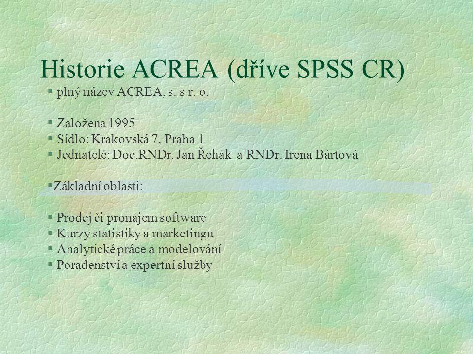 Software nabízený ACREA A.Programy pro statistické analýzy: Systém SPSS | Amos | AnswerTree | SamplePower B.Programy pro komplexní proces sběru a vyhodnocení dat Platforma Dimensions C.Programy pro oblast Predictive Analytics a Data miningu PredictiveAnalytics | Clementine