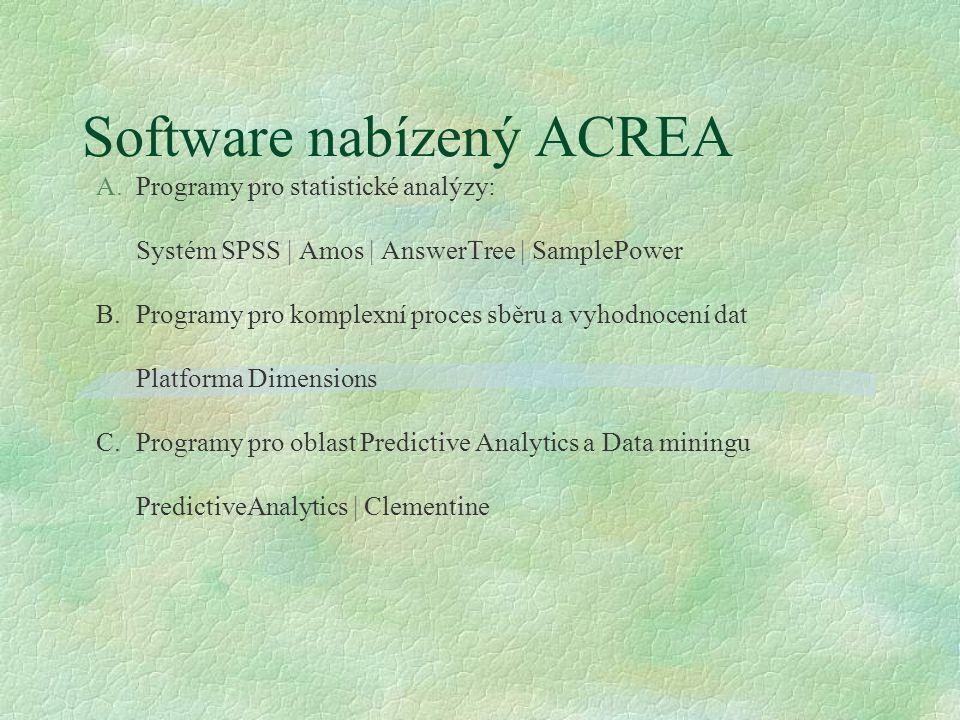 Software nabízený ACREA A.Programy pro statistické analýzy: Systém SPSS | Amos | AnswerTree | SamplePower B.Programy pro komplexní proces sběru a vyho