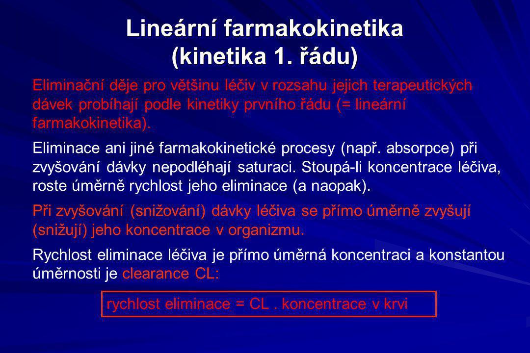 Lineární farmakokinetika (kinetika 1. řádu) Eliminační děje pro většinu léčiv v rozsahu jejich terapeutických dávek probíhají podle kinetiky prvního ř