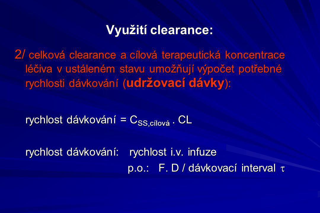 Využití clearance: 2/ celková clearance a cílová terapeutická koncentrace léčiva v ustáleném stavu umožňují výpočet potřebné rychlosti dávkování ( udr