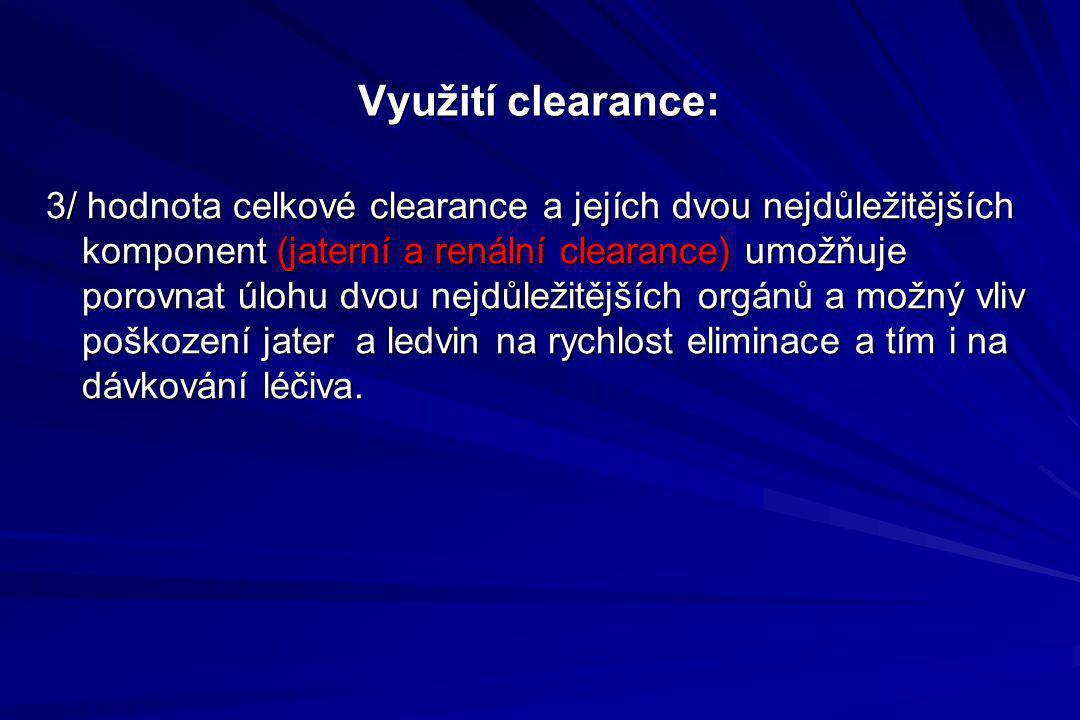 Využití clearance: 3/ hodnota celkové clearance a jejích dvou nejdůležitějších komponent (jaterní a renální clearance) umožňuje porovnat úlohu dvou ne