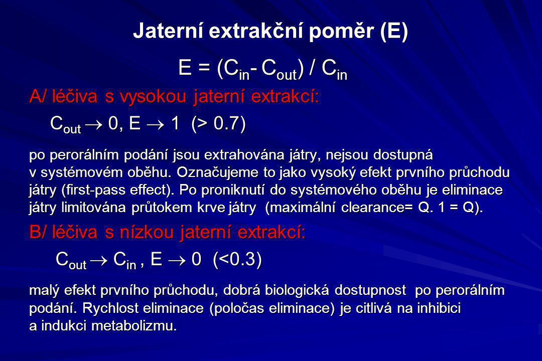 Jaterní extrakční poměr (E) E = (C in - C out ) / C in E = (C in - C out ) / C in A/ léčiva s vysokou jaterní extrakcí: C out  0, E  1 (> 0.7) C out