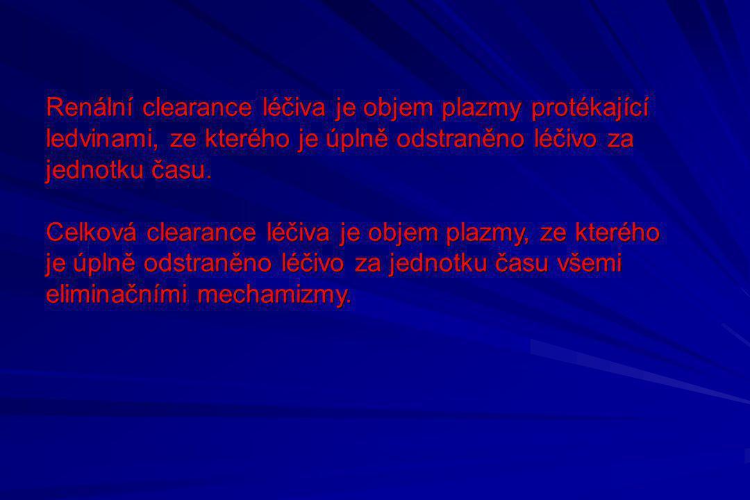 Renální clearance léčiva je objem plazmy protékající ledvinami, ze kterého je úplně odstraněno léčivo za jednotku času. Celková clearance léčiva je ob