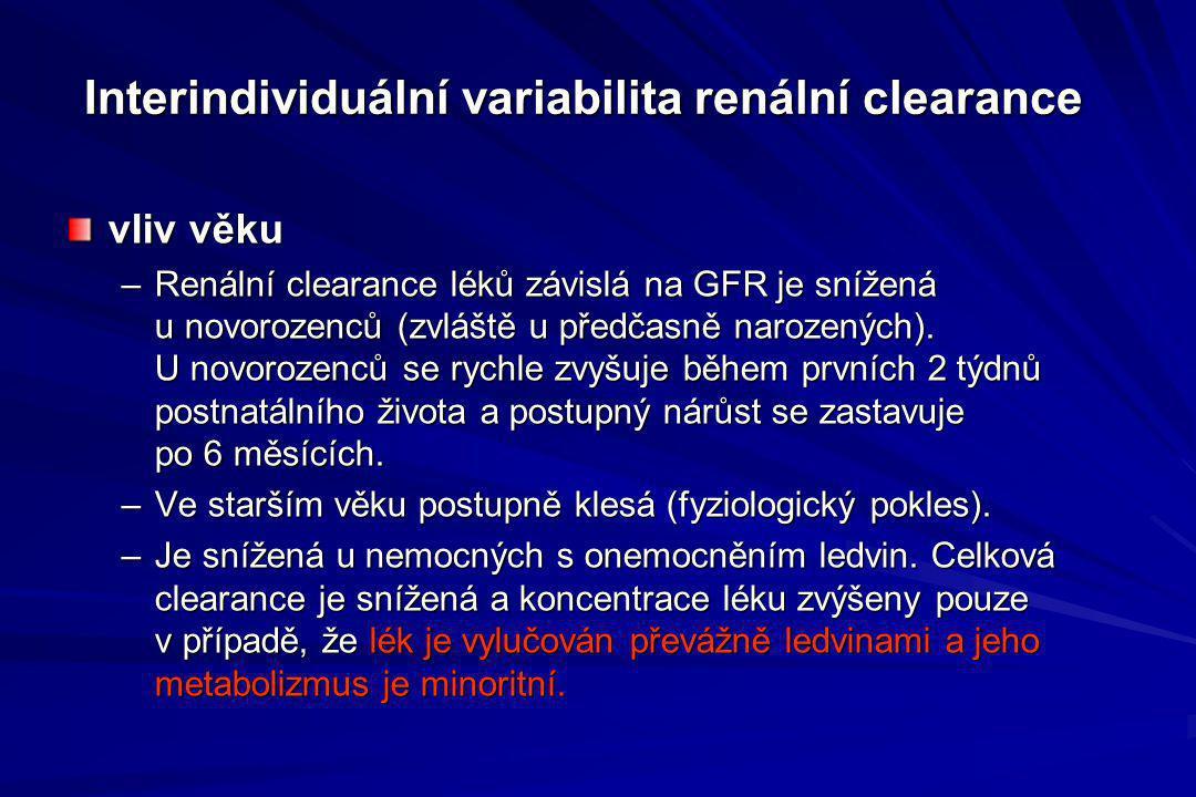 Interindividuální variabilita renální clearance vliv věku –Renální clearance léků závislá na GFR je snížená u novorozenců (zvláště u předčasně narozen