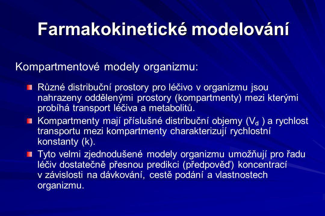 Kompartmentové modely organizmu: Farmakokinetické modelování Různé distribuční prostory pro léčivo v organizmu jsou nahrazeny oddělenými prostory (kom