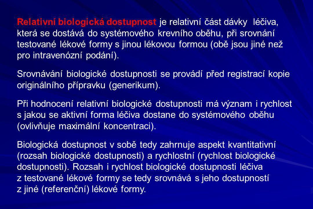 Relativní biologická dostupnost je relativní část dávky léčiva, která se dostává do systémového krevního oběhu, při srovnání testované lékové formy s