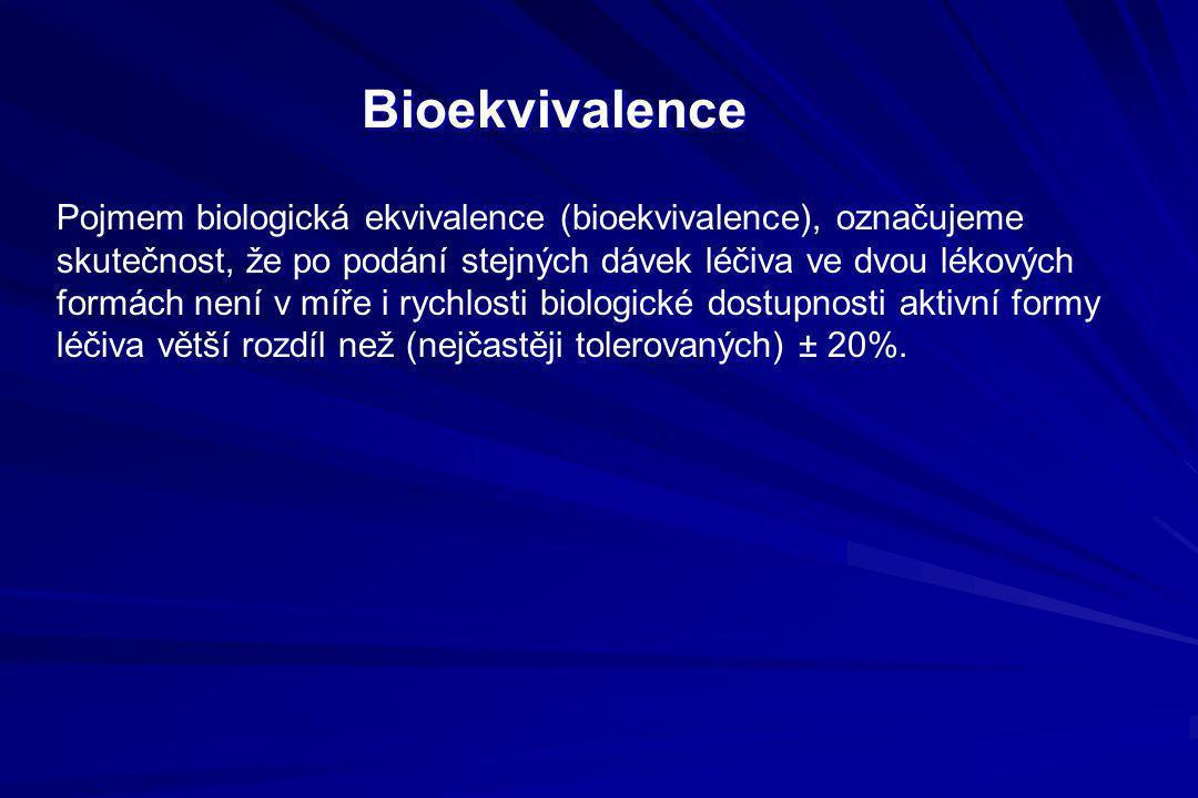 Bioekvivalence Pojmem biologická ekvivalence (bioekvivalence), označujeme skutečnost, že po podání stejných dávek léčiva ve dvou lékových formách není