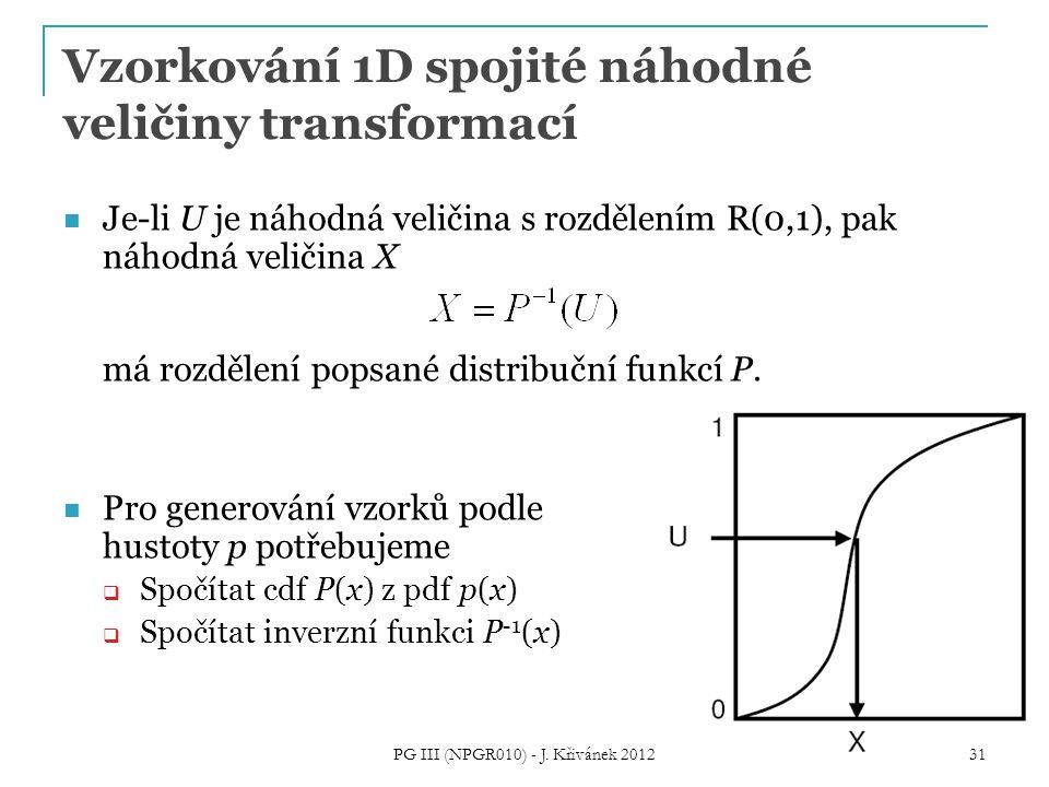Vzorkování 1D spojité náhodné veličiny transformací Je-li U je náhodná veličina s rozdělením R(0,1), pak náhodná veličina X má rozdělení popsané distribuční funkcí P.