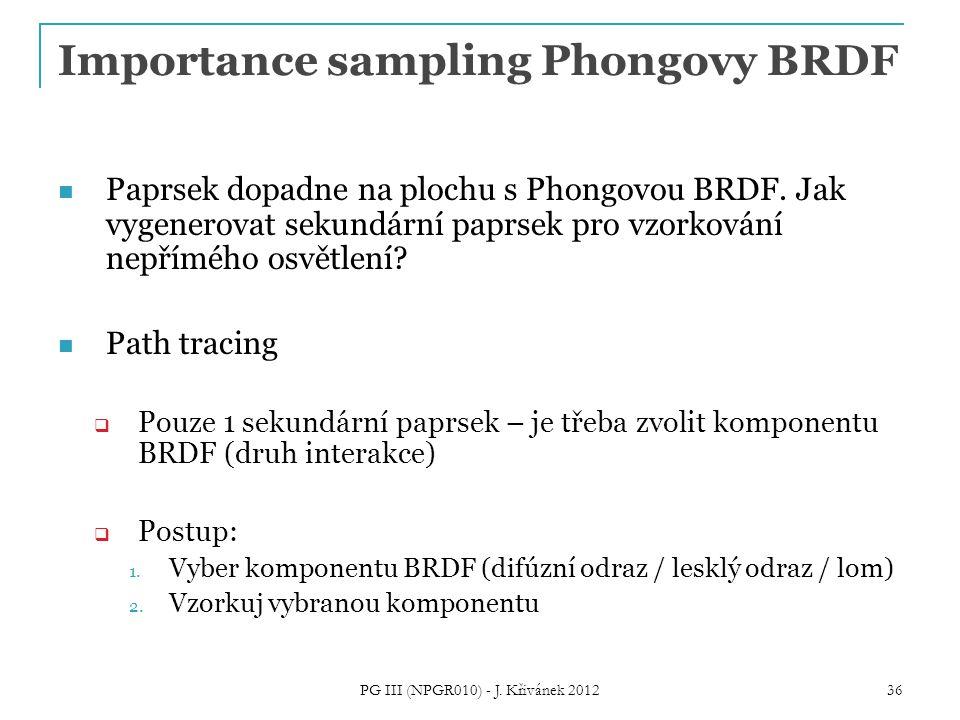 Importance sampling Phongovy BRDF Paprsek dopadne na plochu s Phongovou BRDF.