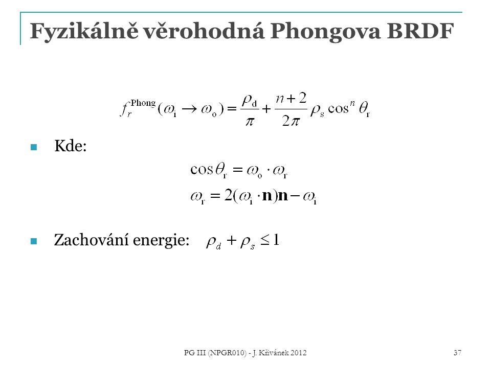 Fyzikálně věrohodná Phongova BRDF Kde: Zachování energie: 37 PG III (NPGR010) - J. Křivánek 2012