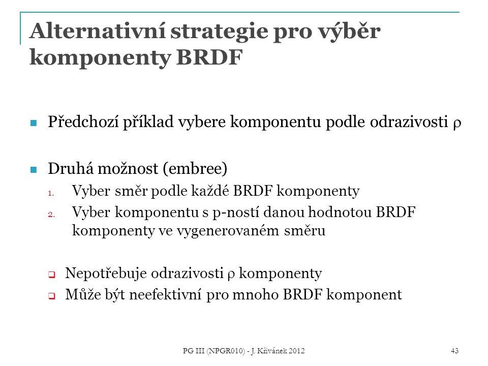 Alternativní strategie pro výběr komponenty BRDF Předchozí příklad vybere komponentu podle odrazivosti  Druhá možnost (embree) 1.
