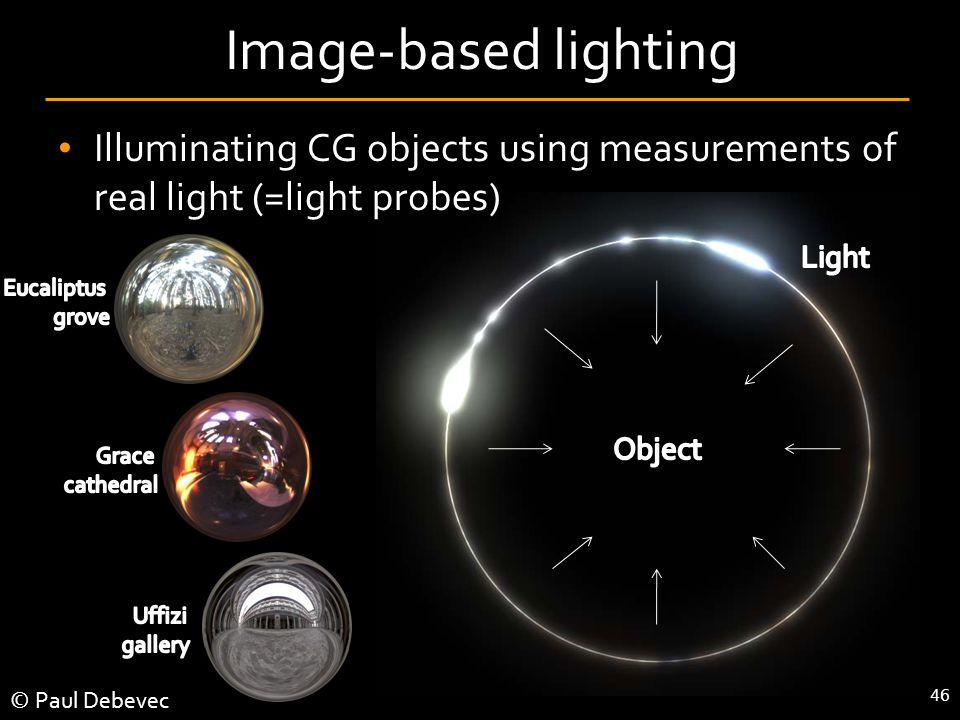 46 Image-based lighting Illuminating CG objects using measurements of real light (=light probes) © Paul Debevec