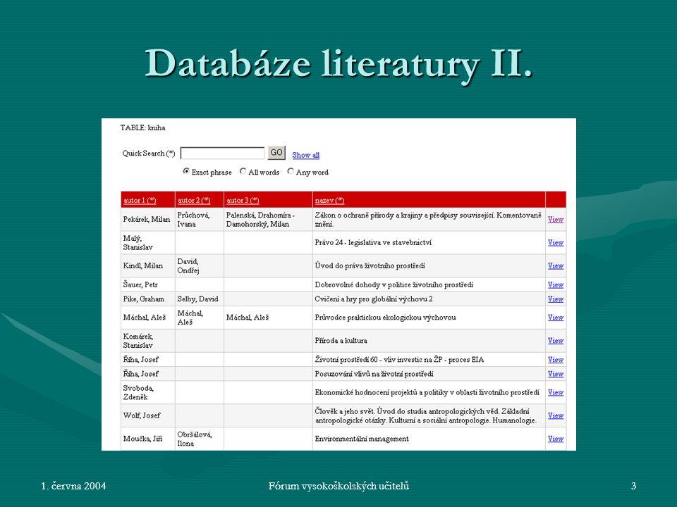 1.června 2004Fórum vysokoškolských učitelů4 Databáze literatury III.