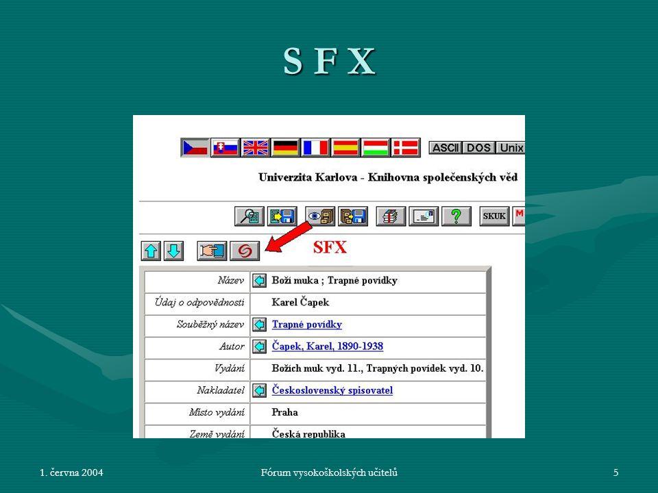 1. června 2004Fórum vysokoškolských učitelů5 S F X