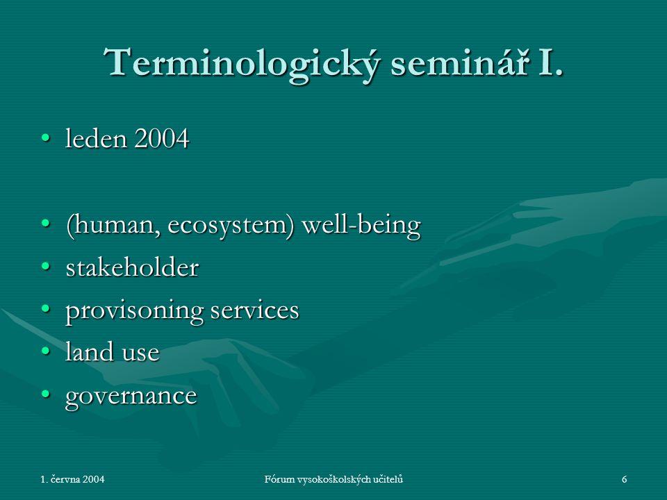 1. června 2004Fórum vysokoškolských učitelů6 Terminologický seminář I.
