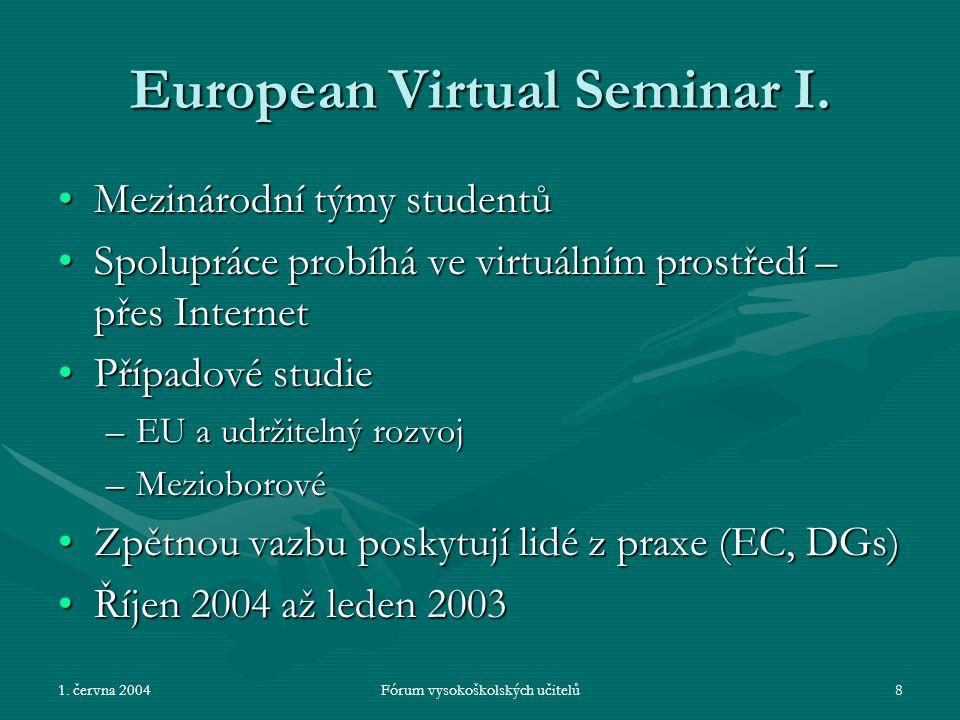 1. června 2004Fórum vysokoškolských učitelů8 European Virtual Seminar I.
