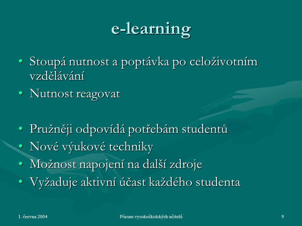 1. června 2004Fórum vysokoškolských učitelů9 e-learning Stoupá nutnost a poptávka po celoživotním vzděláváníStoupá nutnost a poptávka po celoživotním