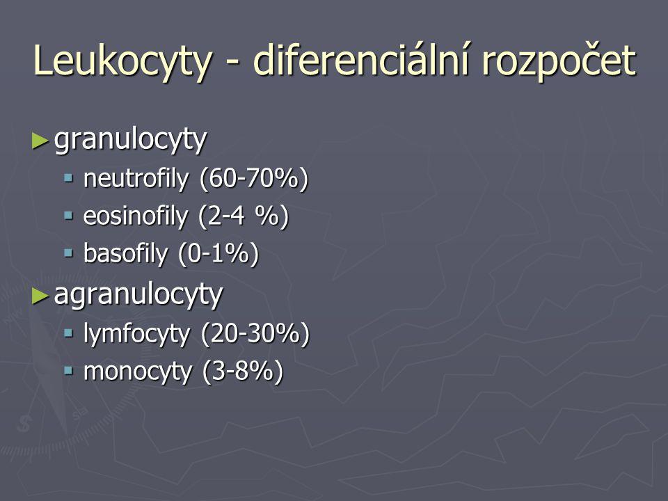 Leukocyty - diferenciální rozpočet ► granulocyty  neutrofily (60-70%)  eosinofily (2-4 %)  basofily (0-1%) ► agranulocyty  lymfocyty (20-30%)  mo