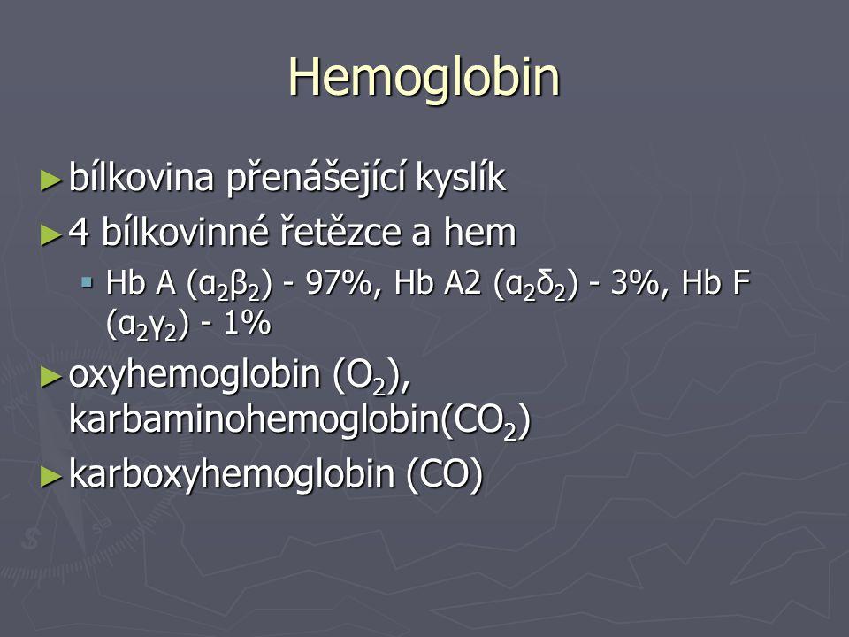 Hemoglobin ► bílkovina přenášející kyslík ► 4 bílkovinné řetězce a hem  Hb A (α 2 β 2 ) - 97%, Hb A2 (α 2 δ 2 ) - 3%, Hb F (α 2 γ 2 ) - 1% ► oxyhemog