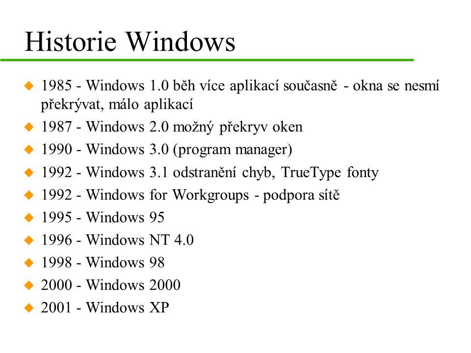 WINDOWS 95 u 32-bitový operační systém u nezávislé na systému DOS –umožňuje jeho emulaci u preemptivní multitasking u orientace na dokumenty u podporuje práci se sítí (Novell) u Registr –konfigurační databáze u dlouhá jména –až 255 znaků, možnost používat mezery a spec.