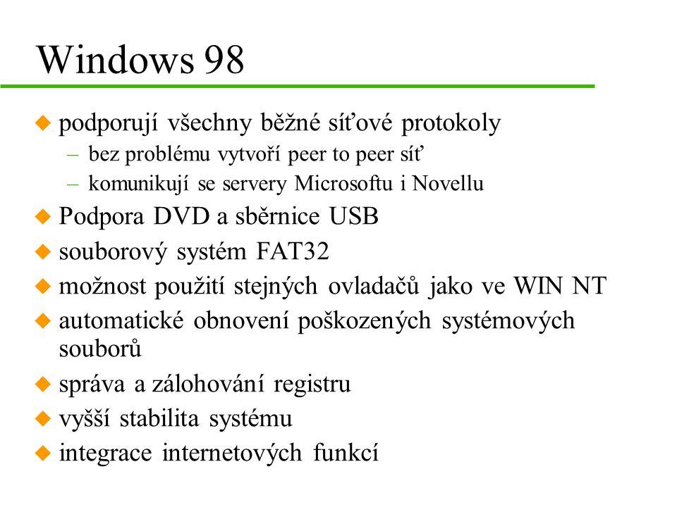 Windows 98 u podporují všechny běžné síťové protokoly –bez problému vytvoří peer to peer síť –komunikují se servery Microsoftu i Novellu u Podpora DVD a sběrnice USB u souborový systém FAT32 u možnost použití stejných ovladačů jako ve WIN NT u automatické obnovení poškozených systémových souborů u správa a zálohování registru u vyšší stabilita systému u integrace internetových funkcí