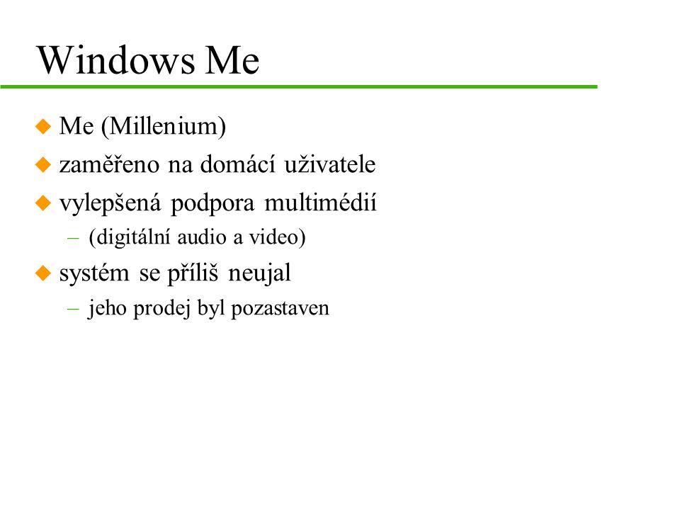 Windows Me u Me (Millenium) u zaměřeno na domácí uživatele u vylepšená podpora multimédií –(digitální audio a video) u systém se příliš neujal –jeho prodej byl pozastaven