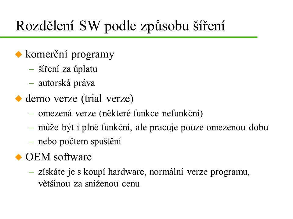 Autorská práva u chrání každé dílo (umělecké, technické i programové) u licenční ujednání –smlouva mezi vlastníkem práv a uživatelem –určuje za jakých podmínek lze SW instalovat a provozovat u porušení ujednání –používání neoprávněného počtu licencí –nelicencovaný SW –kopírování SW pro komerční účely –trestný čin