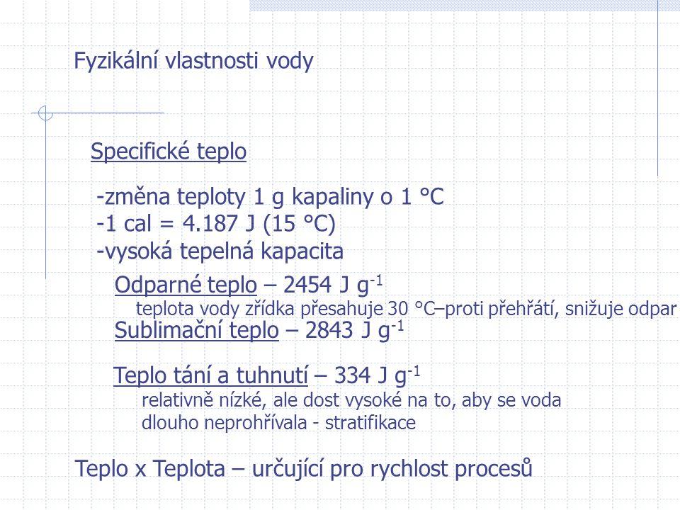 Fyzikální vlastnosti vody Specifické teplo -změna teploty 1 g kapaliny o 1 °C -1 cal = 4.187 J (15 °C) -vysoká tepelná kapacita Odparné teplo – 2454 J g -1 teplota vody zřídka přesahuje 30 °C–proti přehřátí, snižuje odpar Sublimační teplo – 2843 J g -1 Teplo tání a tuhnutí – 334 J g -1 relativně nízké, ale dost vysoké na to, aby se voda dlouho neprohřívala - stratifikace Teplo x Teplota – určující pro rychlost procesů