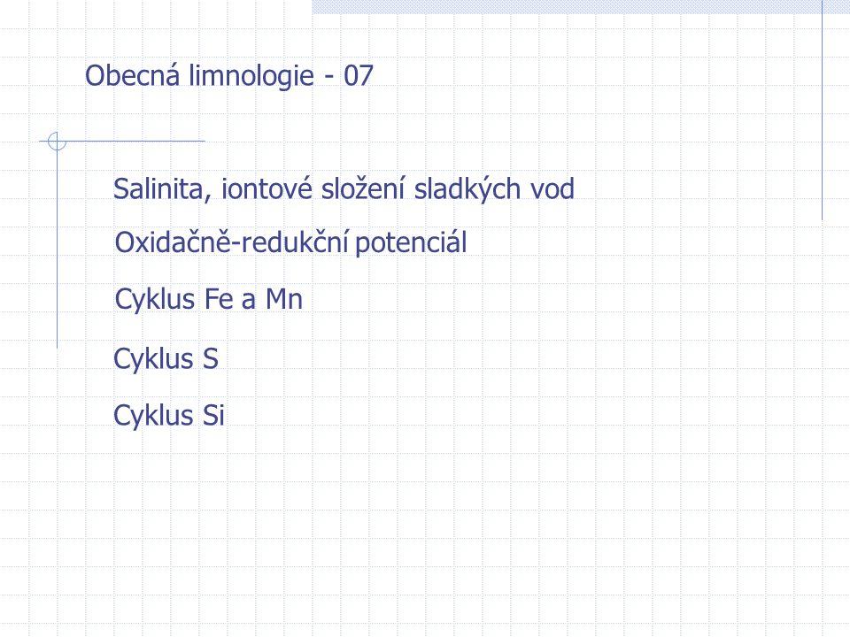 Obecná limnologie - 07 Salinita, iontové složení sladkých vod Cyklus Fe a Mn Oxidačně-redukční potenciál Cyklus S Cyklus Si