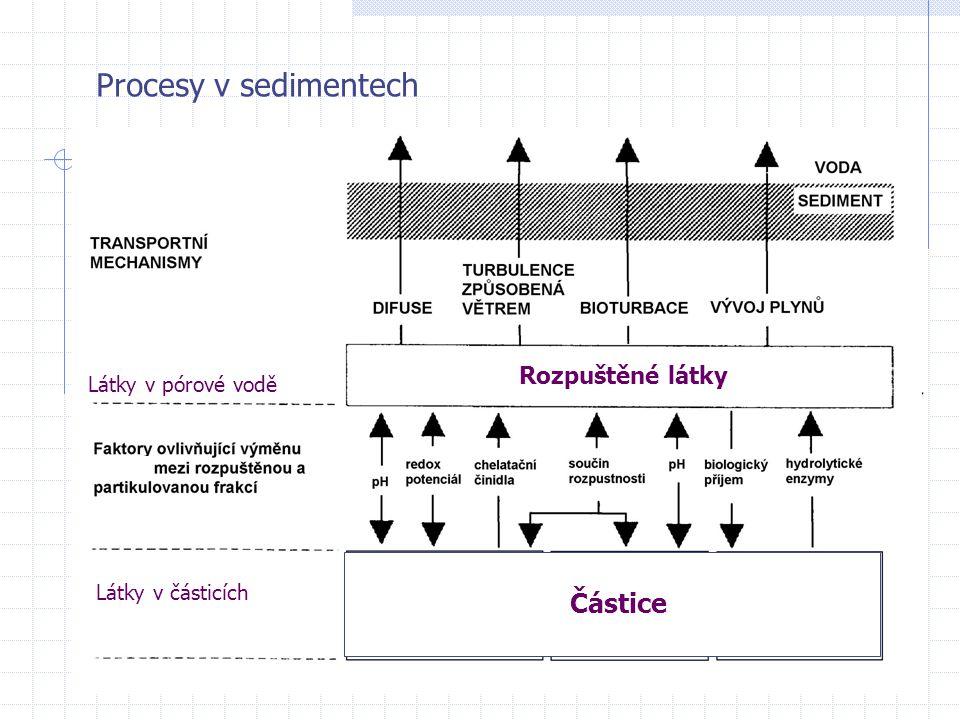 Procesy v sedimentech Rozpuštěné látky Částice Látky v pórové vodě Látky v částicích