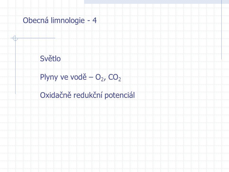 Obecná limnologie - 4 Světlo Plyny ve vodě – O 2, CO 2 Oxidačně redukční potenciál