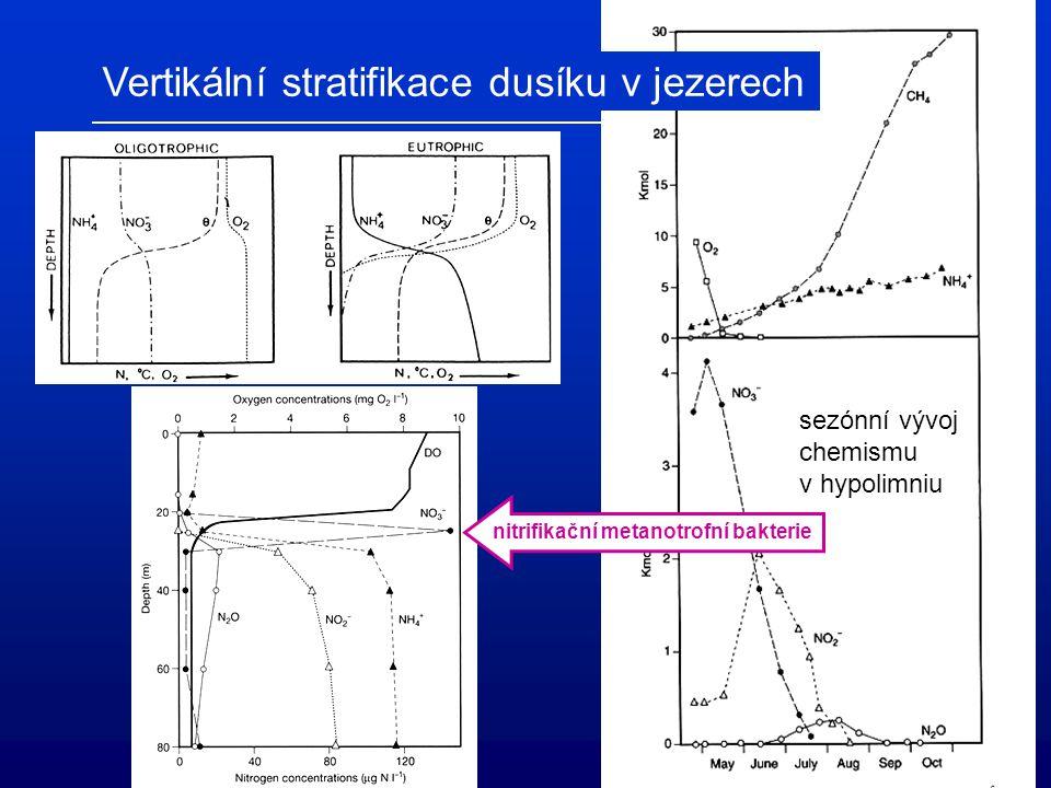 sezónní vývoj chemismu v hypolimniu nitrifikační metanotrofní bakterie Vertikální stratifikace dusíku v jezerech