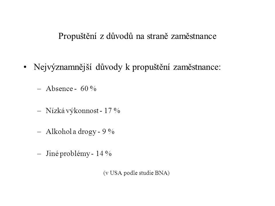 Propuštění z důvodů na straně zaměstnance Nejvýznamnější důvody k propuštění zaměstnance: –Absence - 60 % –Nízká výkonnost - 17 % –Alkohol a drogy - 9 % –Jiné problémy - 14 % (v USA podle studie BNA)