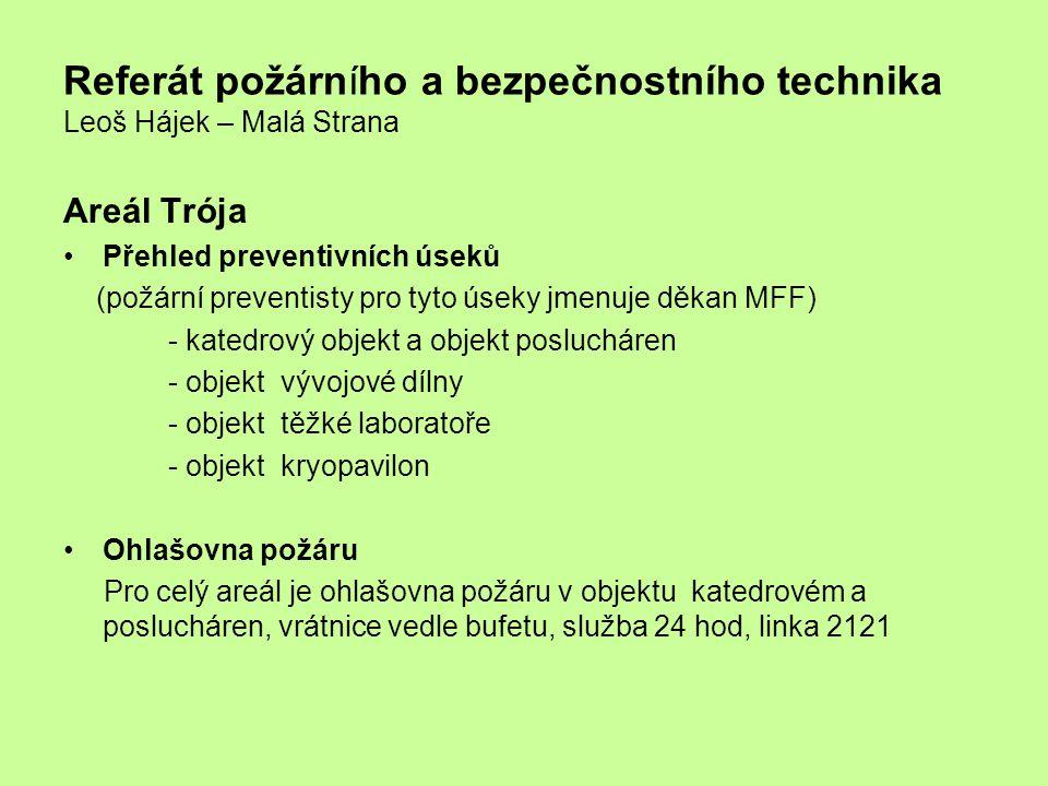 Referát požárního a bezpečnostního technika Leoš Hájek – Malá Strana Areál Trója Přehled preventivních úseků (požární preventisty pro tyto úseky jmenu