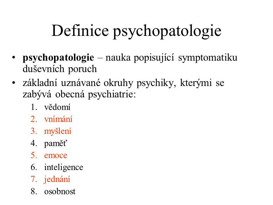 Definice psychopatologie psychopatologie – nauka popisující symptomatiku duševních poruch základní uznávané okruhy psychiky, kterými se zabývá obecná