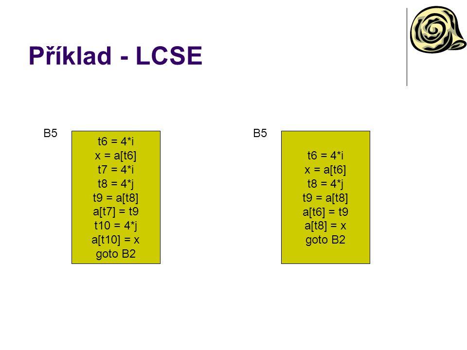 Příklad - LCSE t6 = 4*i x = a[t6] t7 = 4*i t8 = 4*j t9 = a[t8] a[t7] = t9 t10 = 4*j a[t10] = x goto B2 B5 t6 = 4*i x = a[t6] t8 = 4*j t9 = a[t8] a[t6] = t9 a[t8] = x goto B2 B5