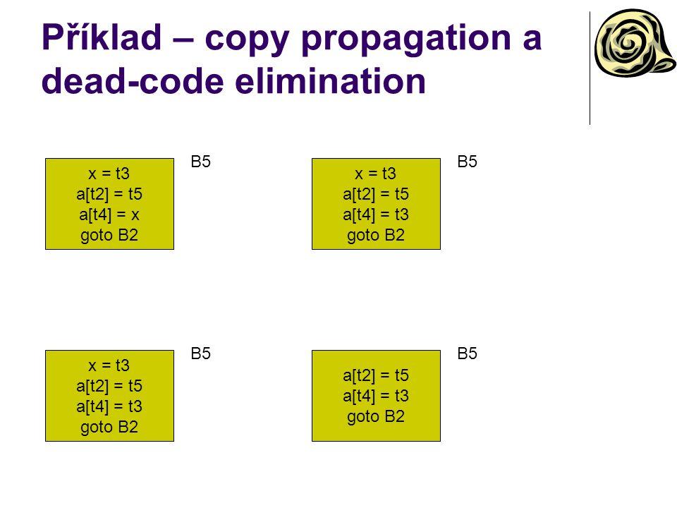Příklad – copy propagation a dead-code elimination x = t3 a[t2] = t5 a[t4] = x goto B2 B5 x = t3 a[t2] = t5 a[t4] = t3 goto B2 B5 x = t3 a[t2] = t5 a[t4] = t3 goto B2 B5 a[t2] = t5 a[t4] = t3 goto B2 B5