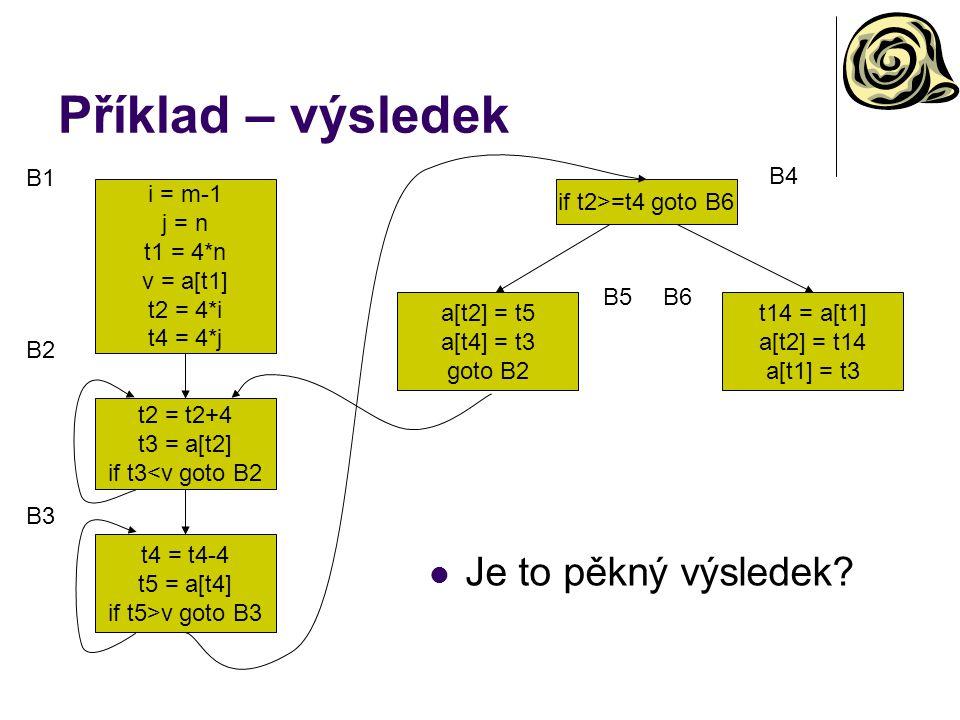 Příklad – výsledek i = m-1 j = n t1 = 4*n v = a[t1] t2 = 4*i t4 = 4*j t2 = t2+4 t3 = a[t2] if t3<v goto B2 t4 = t4-4 t5 = a[t4] if t5>v goto B3 if t2>=t4 goto B6 a[t2] = t5 a[t4] = t3 goto B2 t14 = a[t1] a[t2] = t14 a[t1] = t3 B1 B4 B5B6 B2 B3 Je to pěkný výsledek