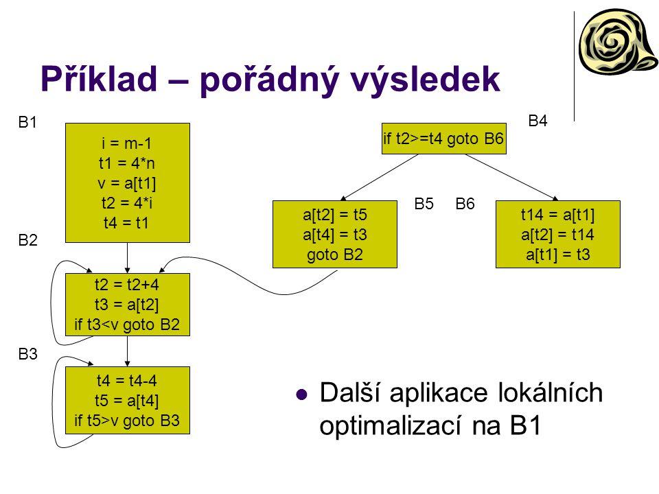 Příklad – pořádný výsledek i = m-1 t1 = 4*n v = a[t1] t2 = 4*i t4 = t1 t2 = t2+4 t3 = a[t2] if t3<v goto B2 t4 = t4-4 t5 = a[t4] if t5>v goto B3 if t2>=t4 goto B6 a[t2] = t5 a[t4] = t3 goto B2 t14 = a[t1] a[t2] = t14 a[t1] = t3 B1 B4 B5B6 B2 B3 Další aplikace lokálních optimalizací na B1
